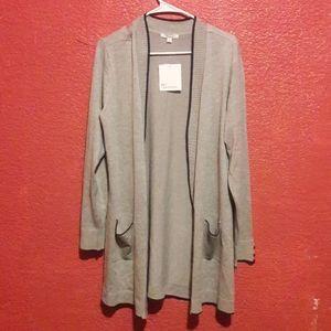 NWT 89th + madison grey cardigan sweater pockets